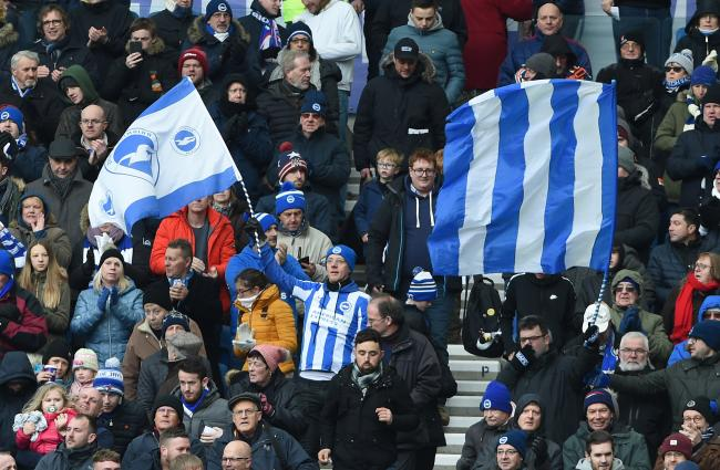 PHOTO BY LIZ FINLAYSON.Brighton and Hove Albion v Watford - Premier League match at The American Express Community Stadium  - .Albion fans.