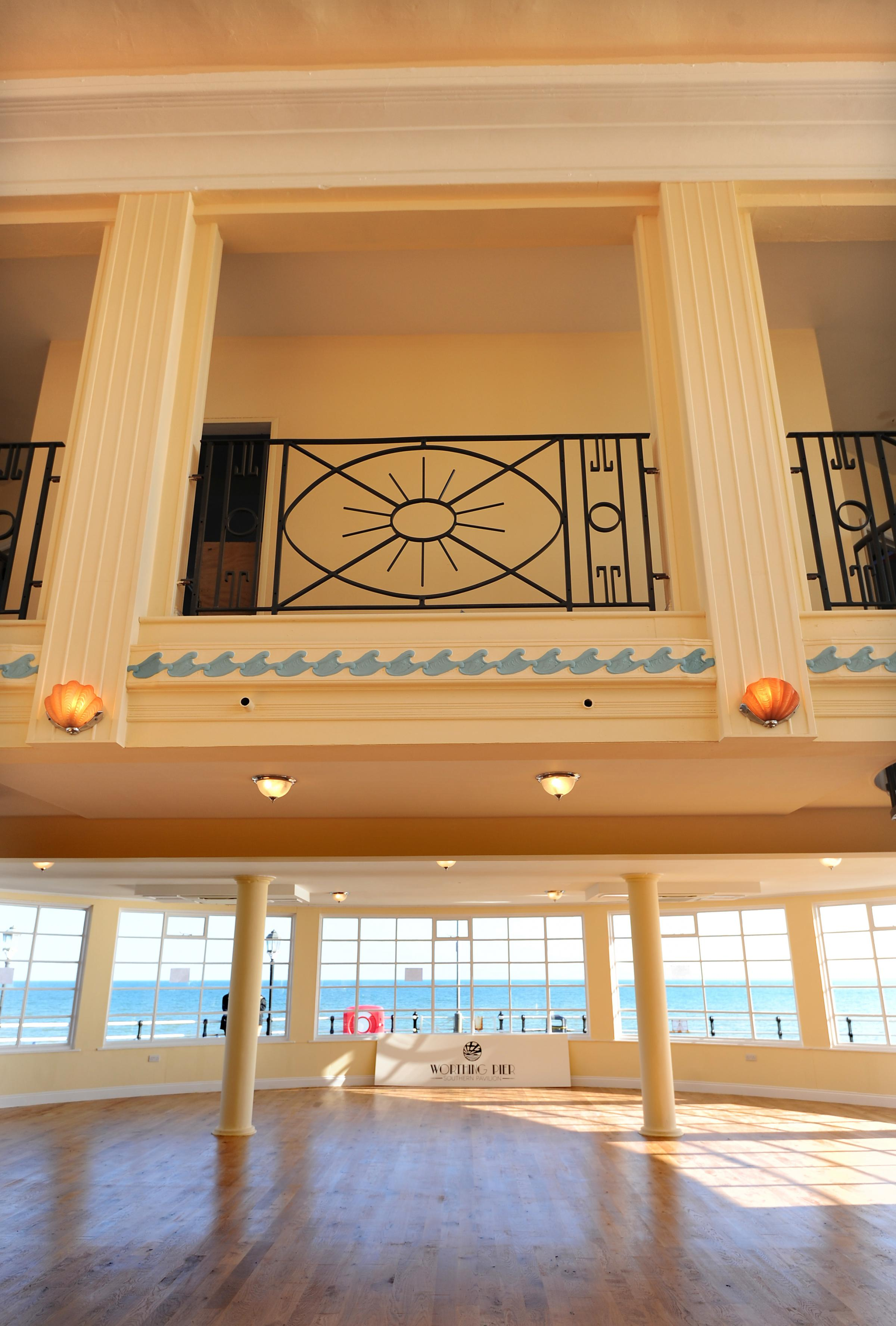 LF160414B1.PHOTO BY LIZ FINLAYSON.The Worthing Pier's southern Pavilion re opens after 3 years - View from inside.