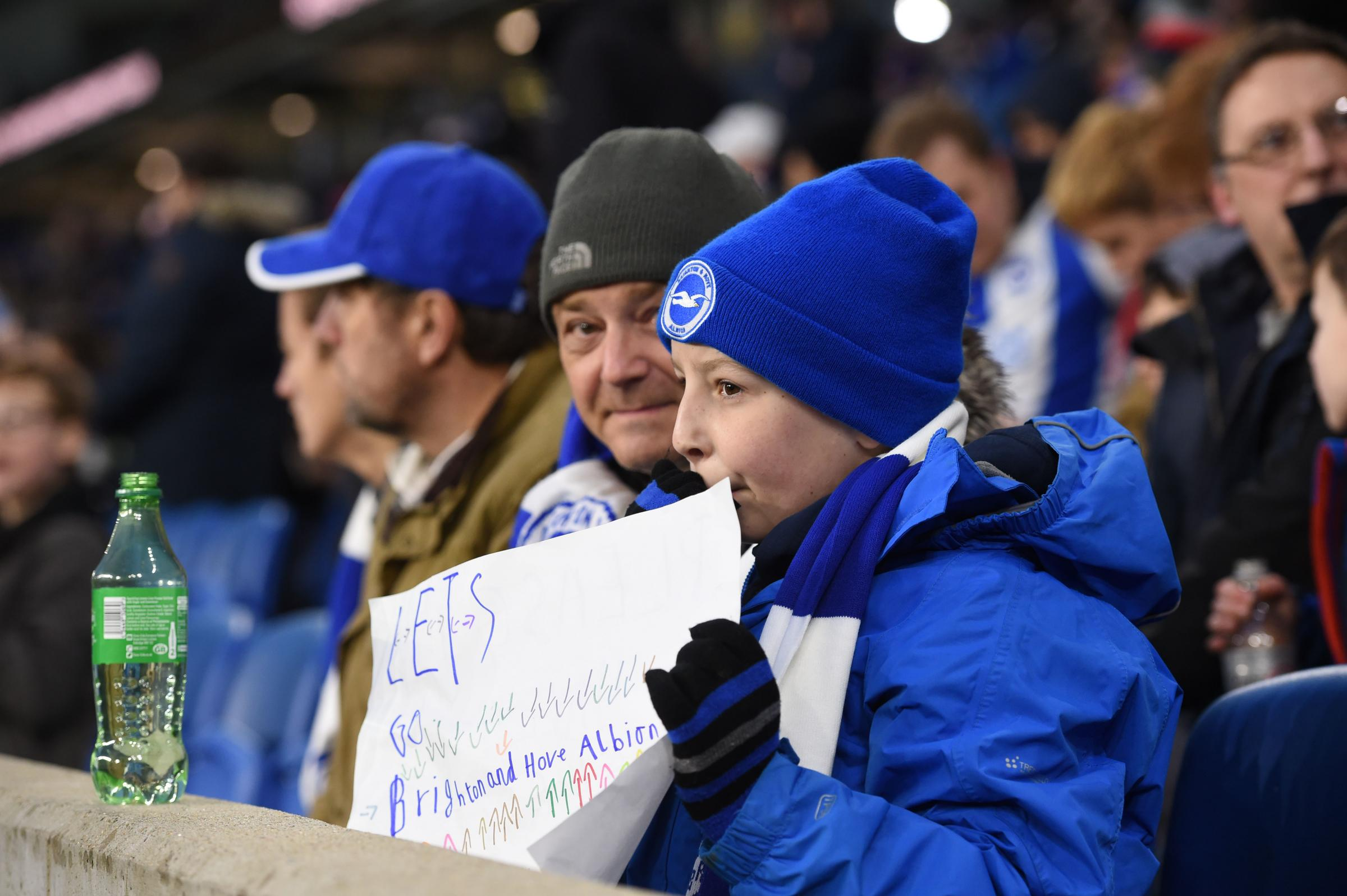 Fans during the Premier League match between Brighton & Hove Albion and Burnley at the American Express Community Stadium . 09 February 2019.Photograph taken by Simon Dack..Editorial use only. No merchandising. For Football images FA and Premier Leagu