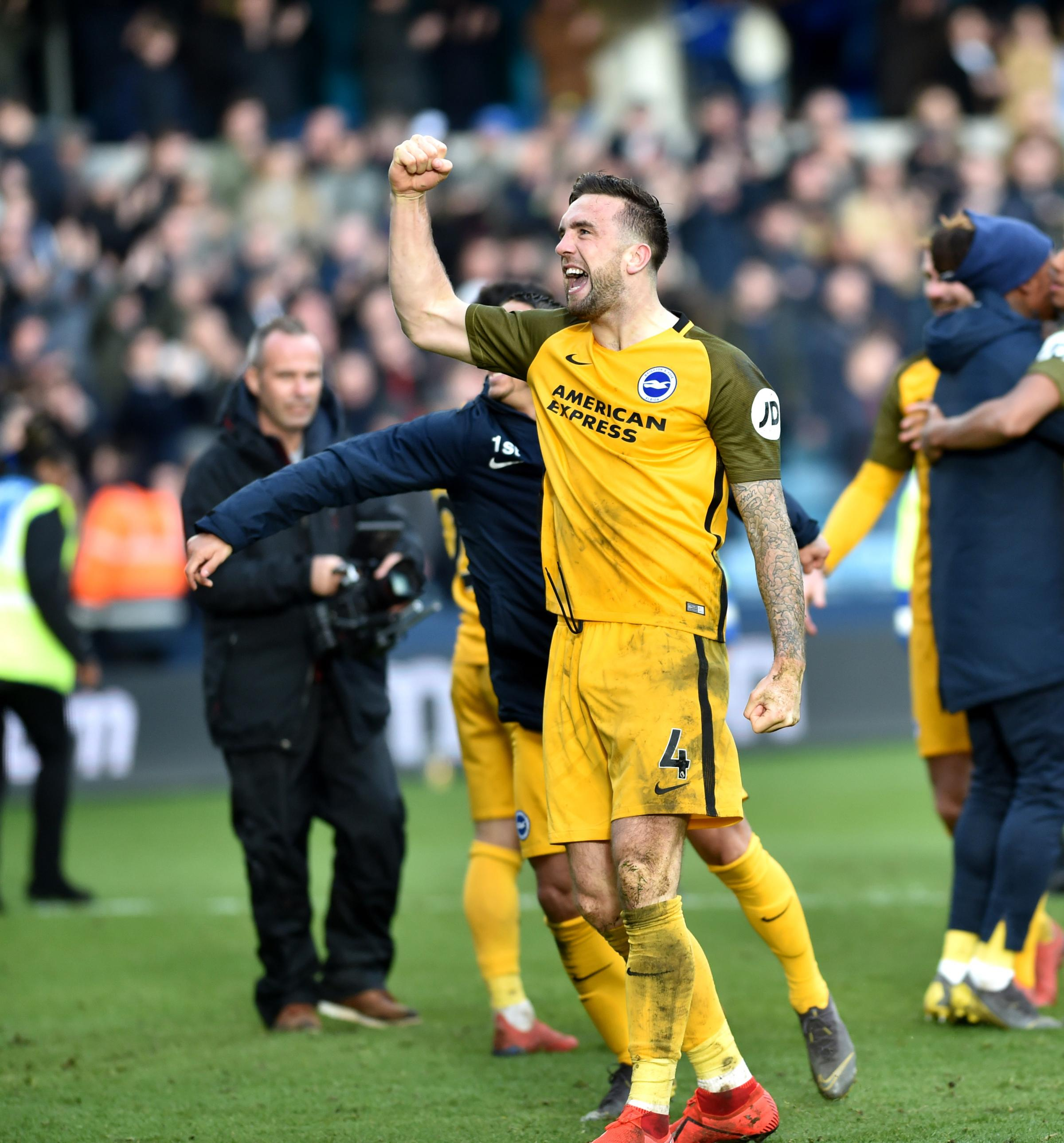 Shane Duffy celebrates the FA Cup win at Millwall