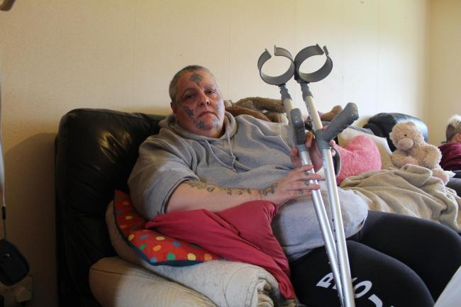 Sharon Brown has to climb 36 steps to her room even though she is disabled