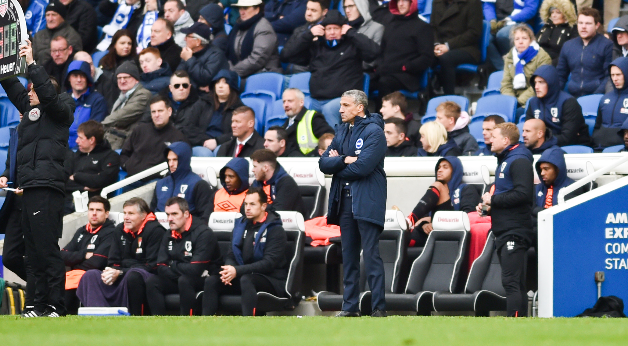 Chris Hughton watches the latter stages of the Bournenouth debacle