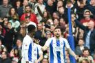Shane Duffy looks accusingly at Yves Bissouma on a desperate afternoon at the Amex for Albion. Picture Simon Dack