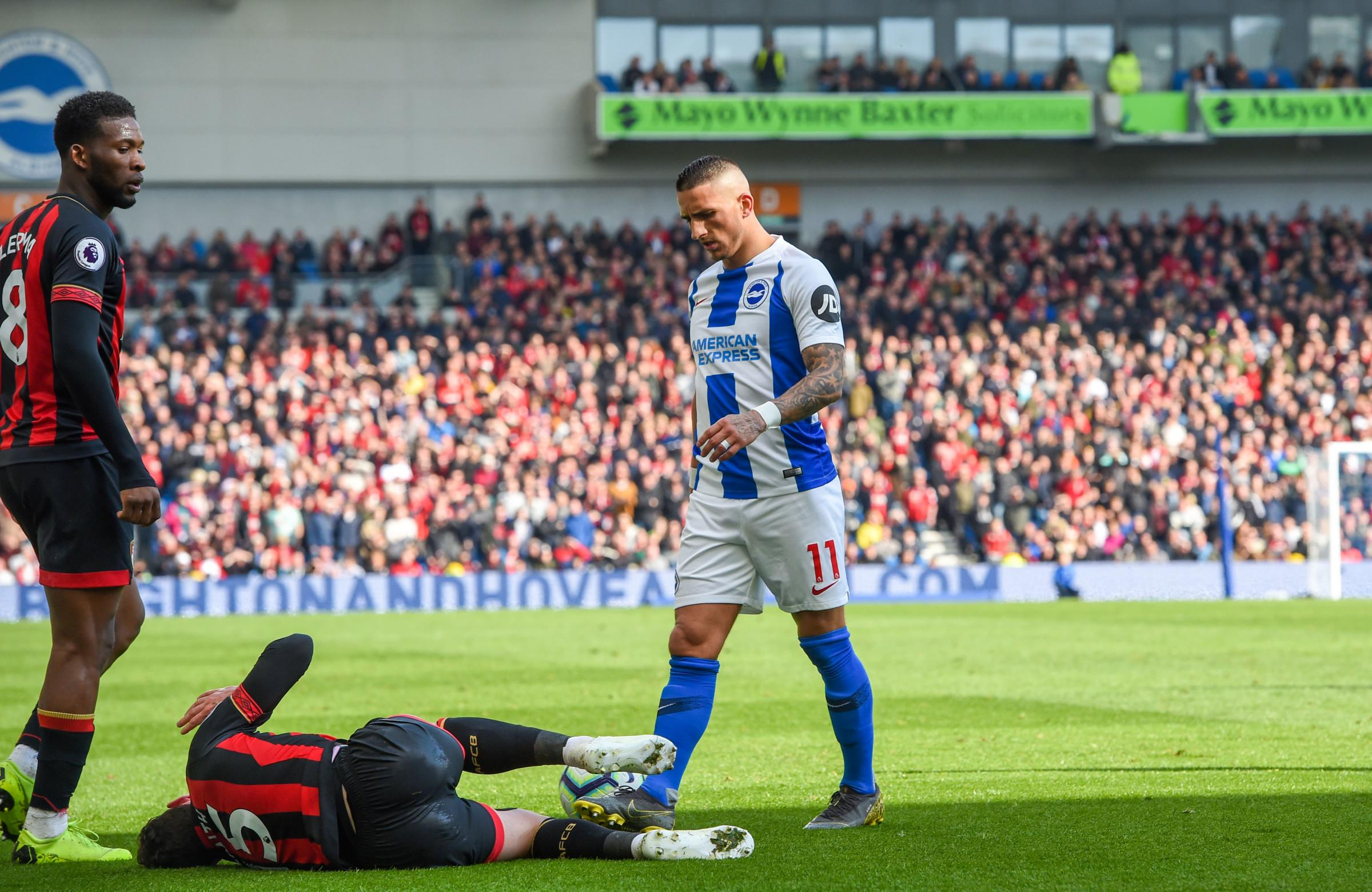 Anthony Knockaert was sent off for a challenge that left Bournemouth's Adam Smith requiring treatment