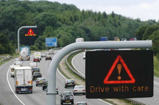 Traffic queues for six miles on M23 after lorry crash