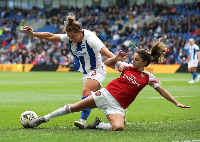 Fliss Gibbons in action at the Amex last season against Arsenal.