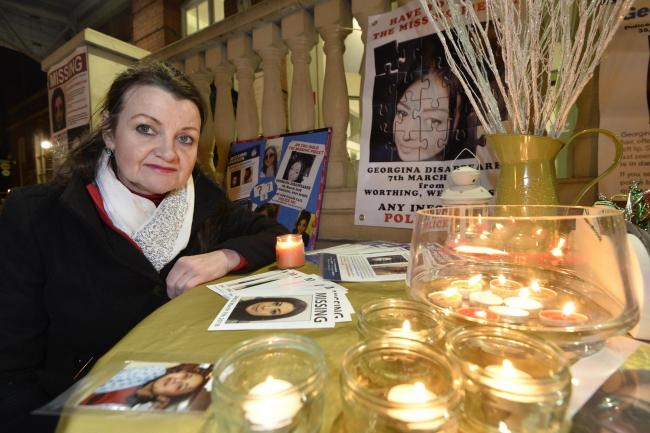Vigil at Worthing Station to mark the 31st birthday of Georgina Gharsallah who has been missing since the 7th of  March. Picture Terry Applin..Georgina's mother Andrea.