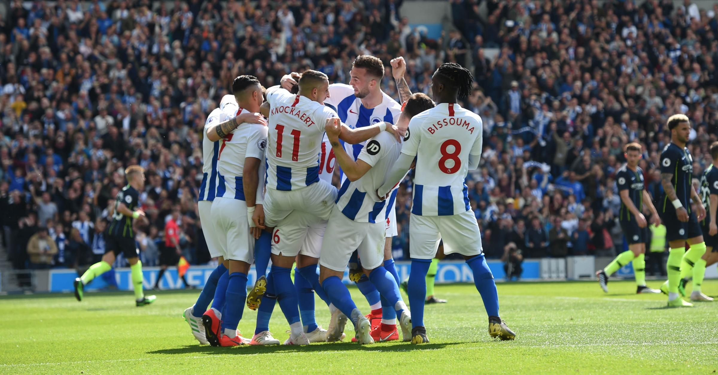 Albion celebrate Glenn Murray's goal but it was cancelled out too quickly admits the striker