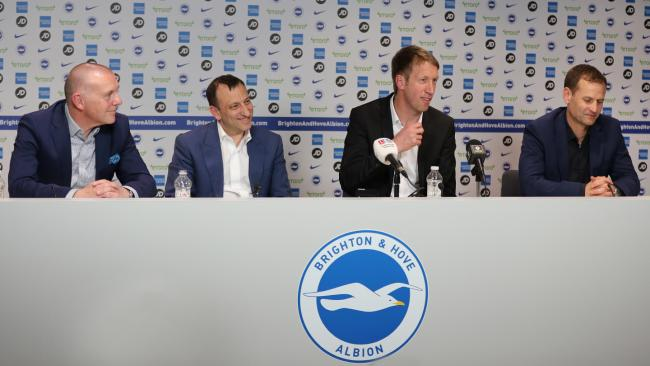 Albion's Paul Barber, left, with Tony Bloom, Graham Potter and Dan Ashworth. Picture: Paul Hazlewood/BHAFC