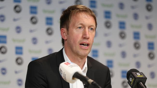 Graham Potter addresses the press at Albion's training complex. Picture: Paul Hazlewood
