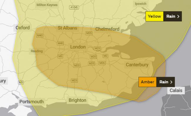 AMBER WEATHER WARNING:  Heavy rain predicted to cause FLOODING and damage