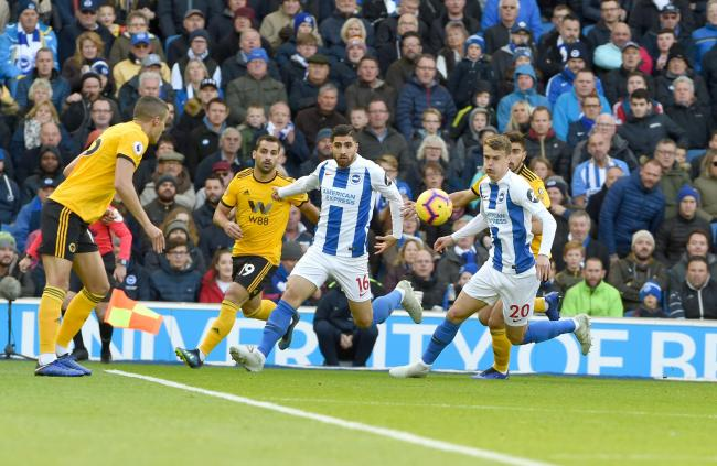 Alireza Jahanbakhsh (centre) featured in Albion's best period of the season, including the victory over Wolves