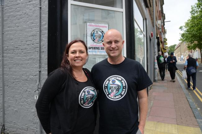 Claire Sedgwick and Rob White outside their new shop