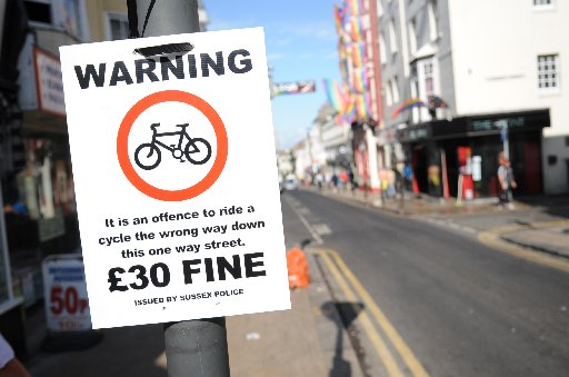 Police launched a crackdown on cyclists in St James's Street, Brighton